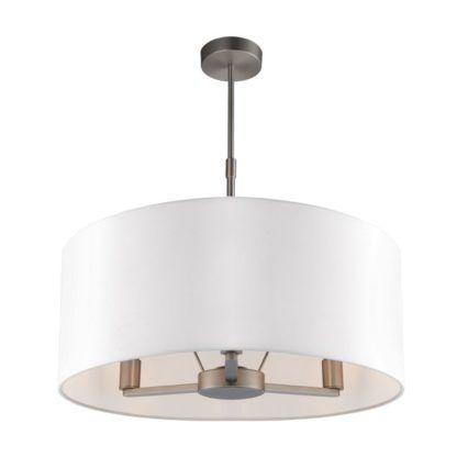 Lampa wisząca Daley - Endon Lighting - srebrna, biała tkanina
