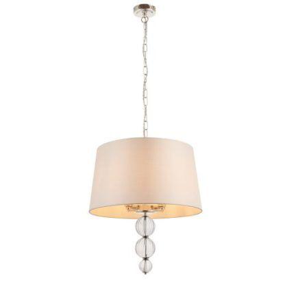 Lampa wisząca Darlaston - Interiors - beżowa, srebrna