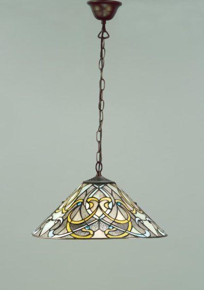 wzorzysta lampa wisząca ze szkła Tiffany