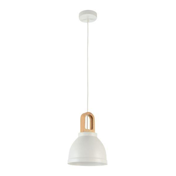 lampa wisząca biała z drewnianym wykończeniem