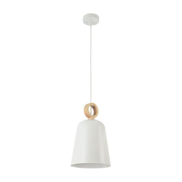 wąska lampa wisząca biała z drewnem nad stół