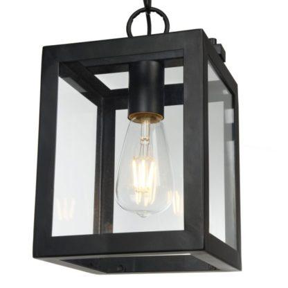 sześcian - lampa szklana i stalowa wisząca