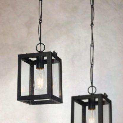 lampa wisząca prostokąty - szklane i czarne