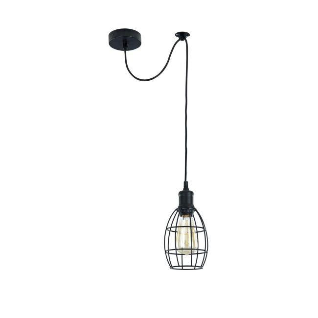 lampa z drutu czarnego wisząca z żarówką
