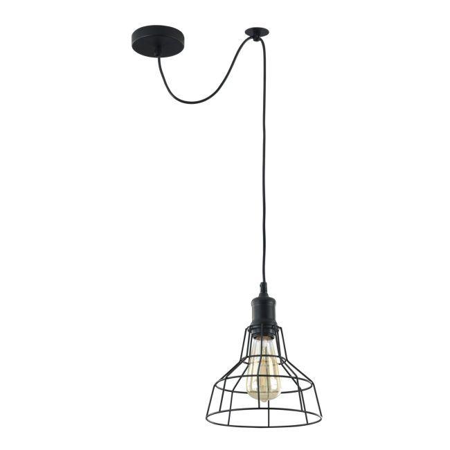 stożkowa lampa z czarnych drutów i żarówką