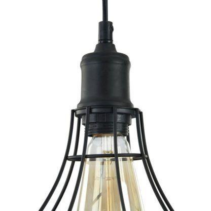 górna część lampy z drutów czarnych z oprawką