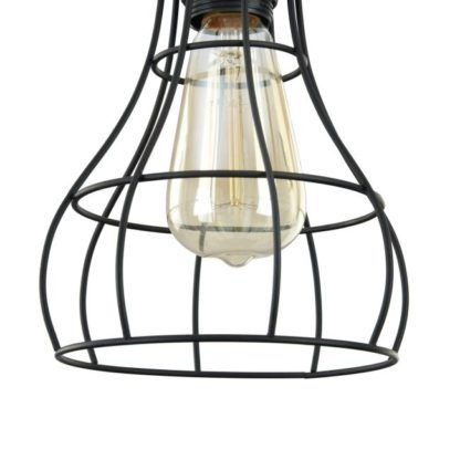 lampa z drutów z żarówką edisona czarna