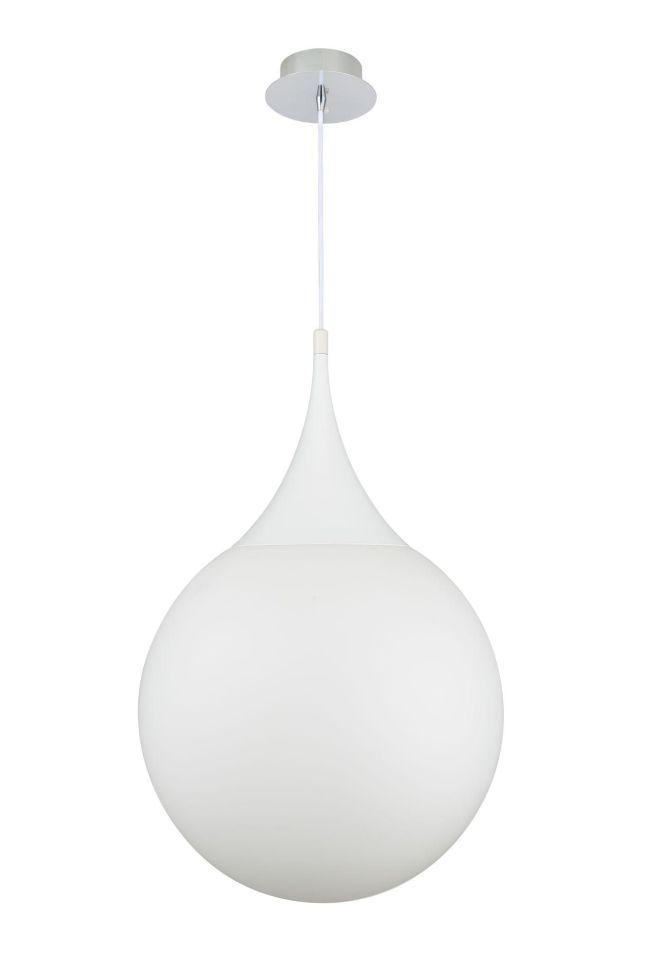 lampa wisząca biała szklana kula