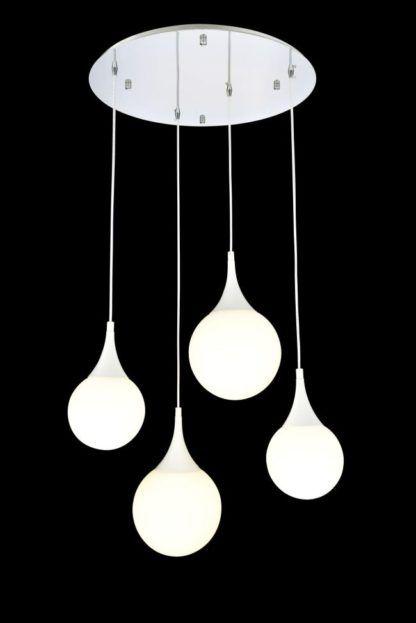 Lampa wisząca Dewdrop z czterema kulami - Maytoni - białe klosze