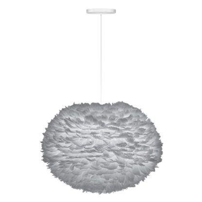 duża lampa wisząca w skandynawskim stylu, szary klosz w kształcie kuli