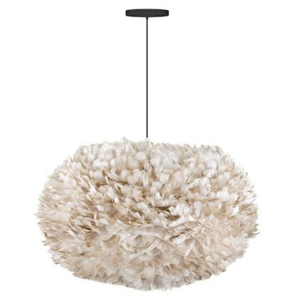 duża lampa z naturalnych piór, bardzo lekki klosz, odcień delikatnego brąz