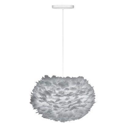 nowoczesna lampa wisząca z szarym kloszem i białym zawieszeniem