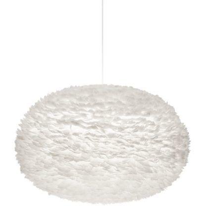 duża lampa wisząca, lekka kula wykonana z piór, biały klosz