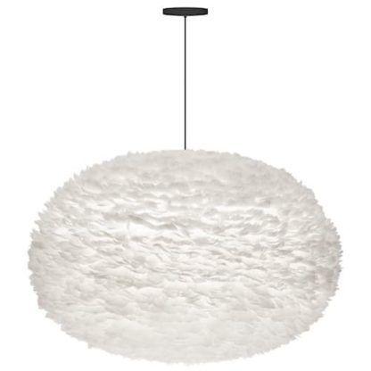 bardzo duża lampa wisząca, lekki klosz z naturalnych piór, biała kula