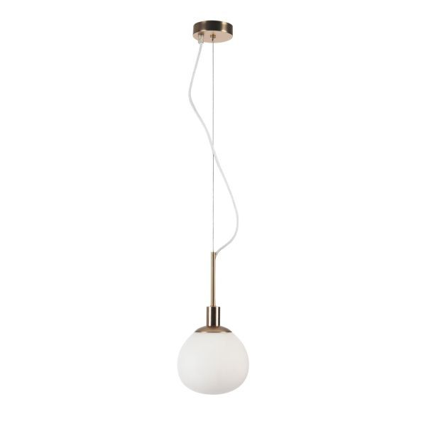 Lampa wisząca z kulistym szklanym kloszem i złotą podsufitką