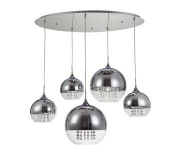 Lampa wisząca z 5 kulami Fermi - Maytoni - klosze ze szkła i metalu oraz kryształy