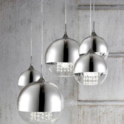 lampy wiszące szklane srebrne kule z kryształami