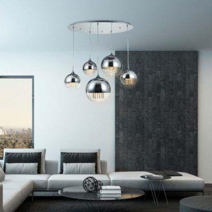 szklane kule wiszące do połowy srebrne - lampa do salonu