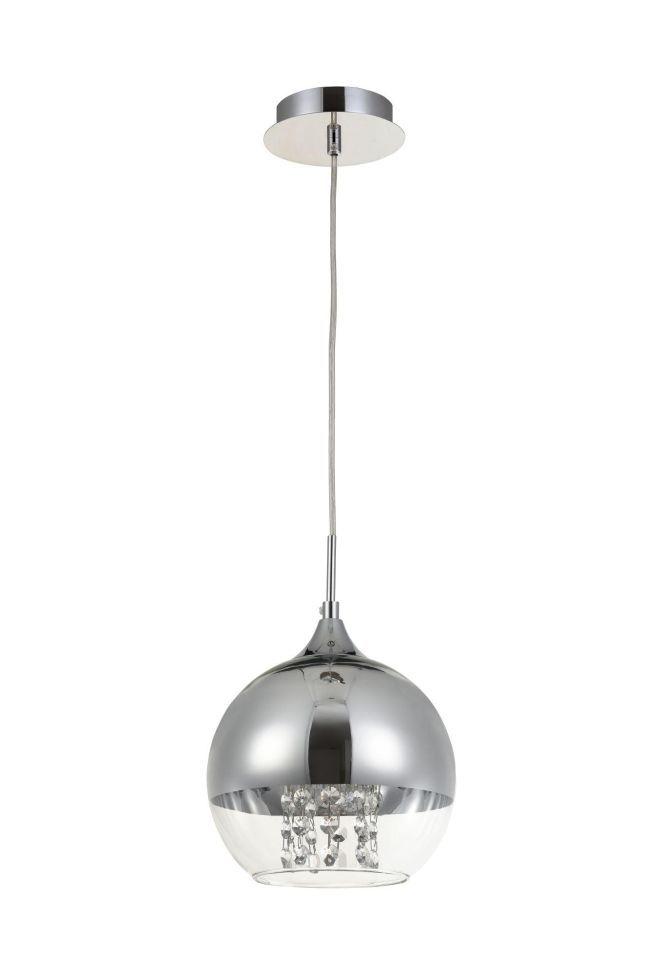 szklana lampa kula z srebrnym kloszem i kryształami wiszącymi