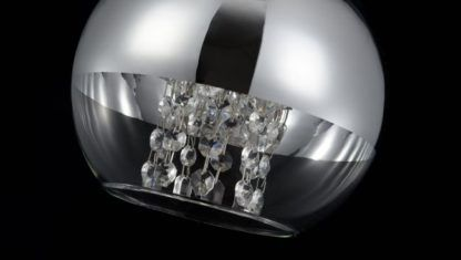 lampa wisząca szklana srebrna kula z kryształami