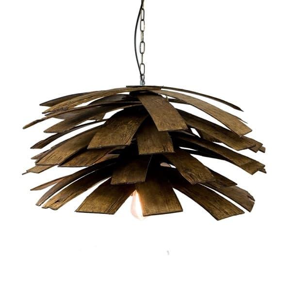 lampa wisząca w stylu industrialnym, klosz z drewnianych deseczek