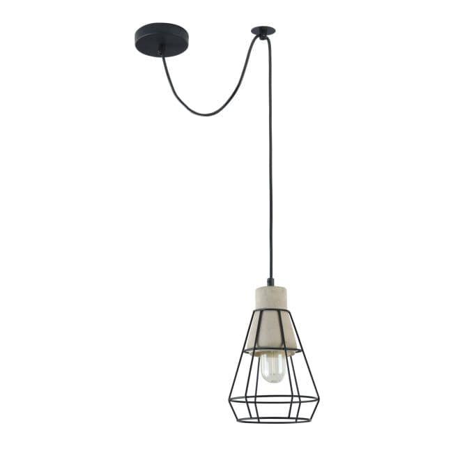 lampa wisząca betonowo druciana czarno szara