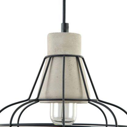 lampa ceramiczno druciana czarno szara wisząca