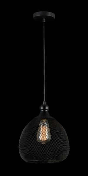 lampa czarna z drucików i żarówką edissona
