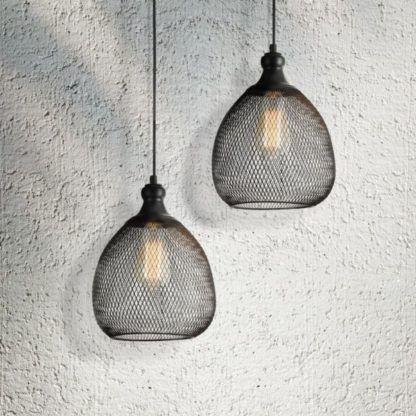 2 lampy z drucianej siatki z żarówkami - czarne