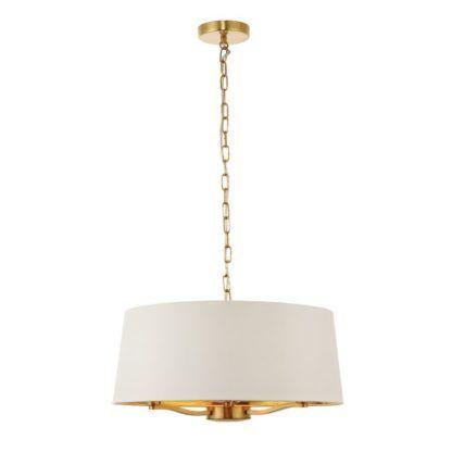 Klasyczna lampa wisząca Harvey z abażurem - Endon Lighting - złota, biała