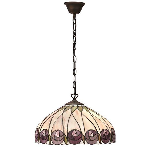 szklana lampa wisząca na łańcuszkowym zwisie