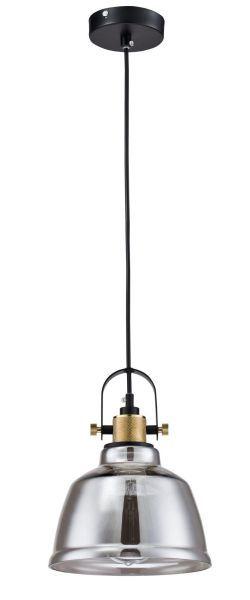 szare szkło - lampa wisząca z żarówką edissona