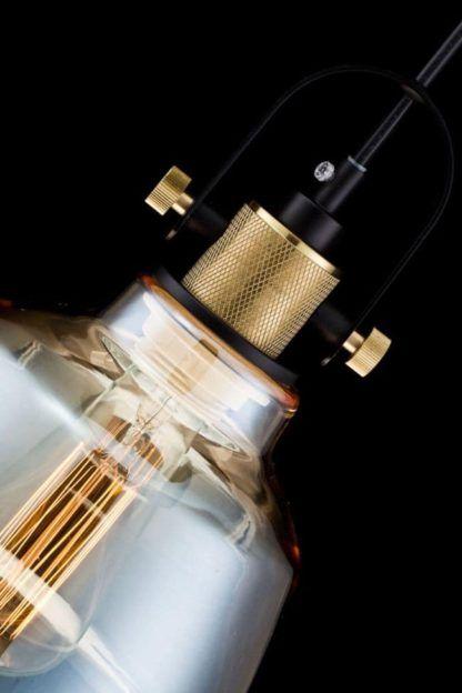 lampa wisząca szklana z żarówką edisona