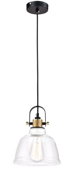 lampa skandynawska szklana z żarówką edissona i elementami miedzi