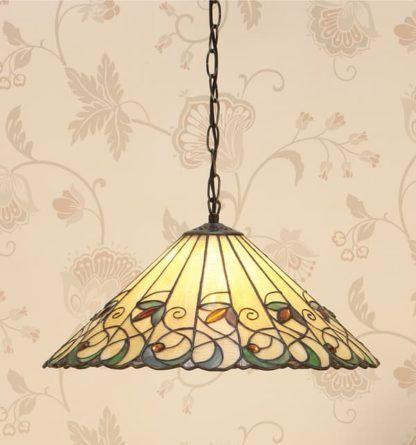 kolorowa lampa z wzorzystym witrażowym kloszem Tiffany