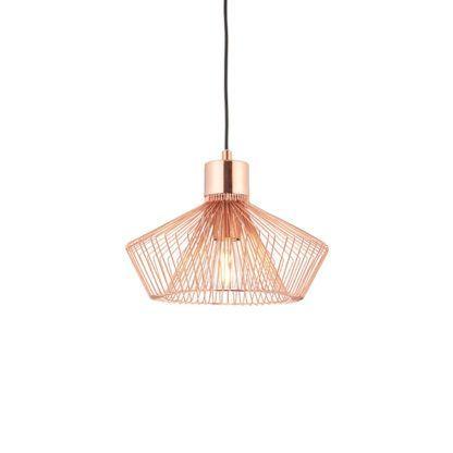ażurowa, miedziana lampa z metalu, pręty, styl industrialny, skandynawski