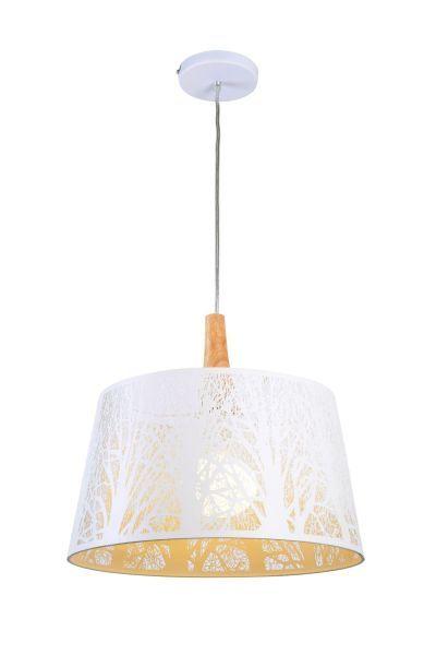 lampa wisząca z białym powycinanym abażurem