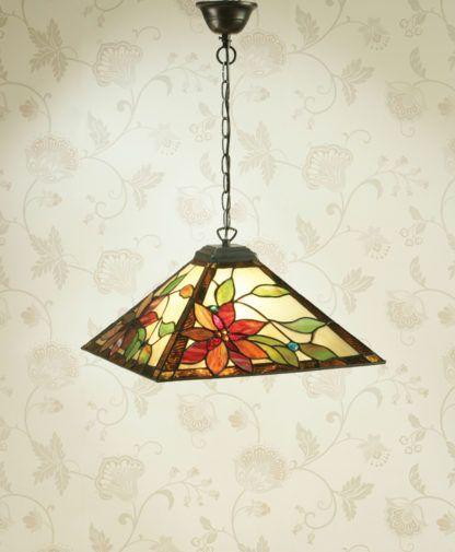 kolorowa lampa wisząca ze szklanym kloszem w stylu klasycznym
