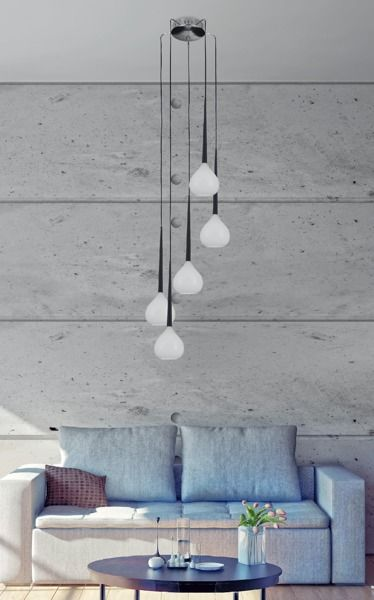 Lampa wisząca - Libra - Zuma Line - szklana, biała