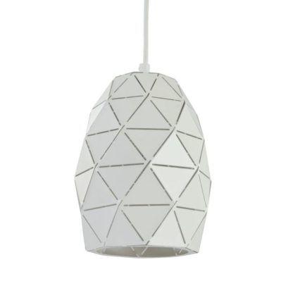 designerska lampa wisząca biała z trójkątów