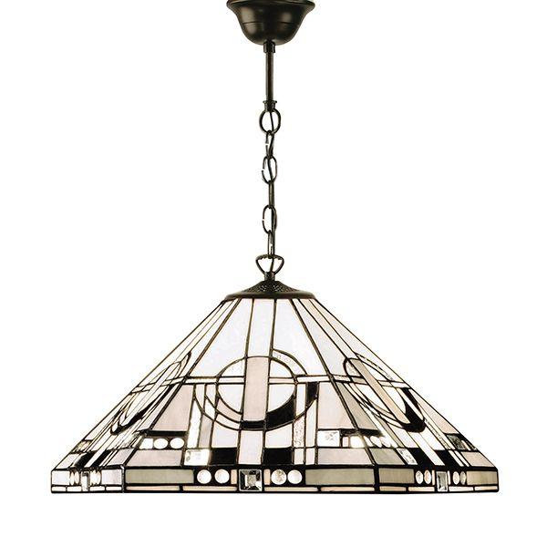 aranżacja - lampa wisząca ze szkła Tiffany - witrażowy wzór