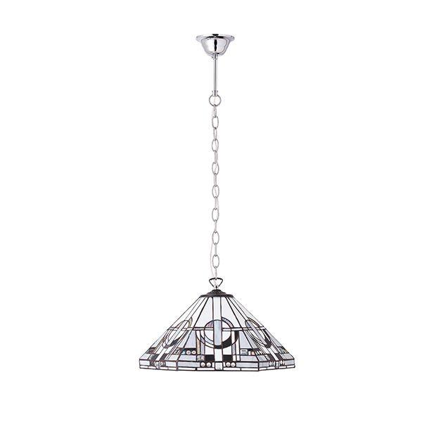 szklana lampa wisząca z subtelnym mozaikowym wzorem