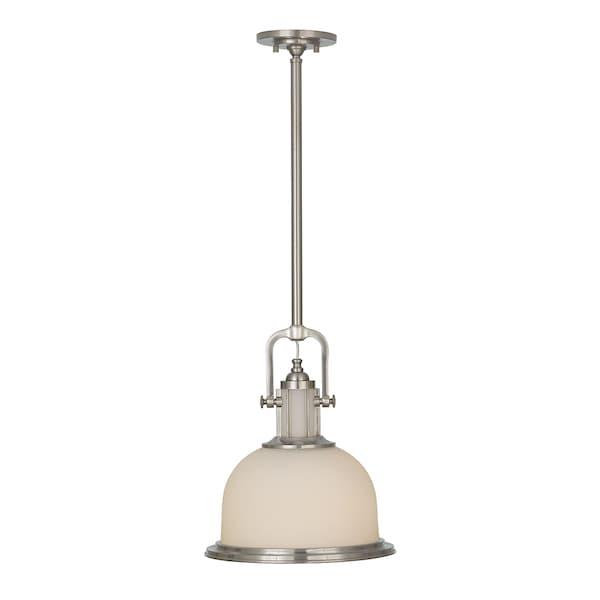 lampa wisząca w stylu hampton, mleczne szkło i srebrna obudowa