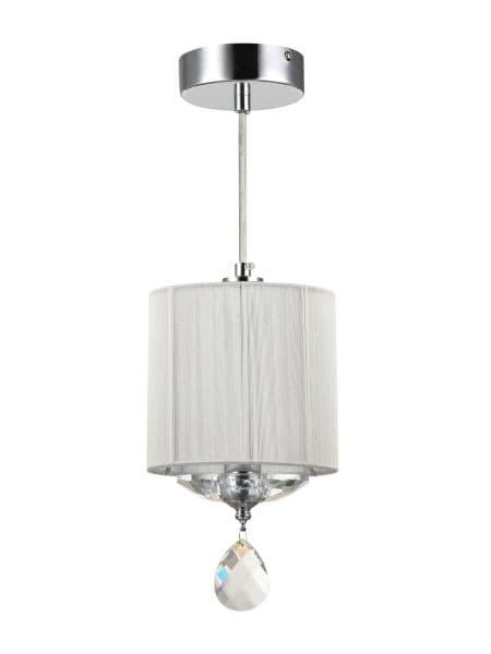 lampa wisząca chromowana z kryształem i abażurem