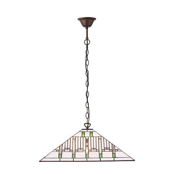 jasna lampa wisząca z geometrycznym wzorem i szklanym kloszem