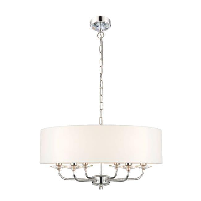 Lampa wisząca Nixon - Endon Lighting - 6 żarówek - biała, srebrna
