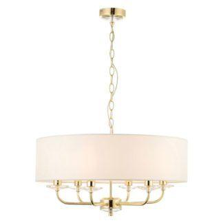 Lampa wisząca z abażurem Nixon - Endon Lighting - 6 żarówek - biała, złota