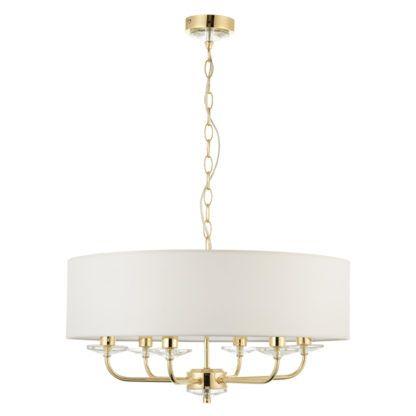 klasyczna lampa wisząca w kolorze złotym z dużym białym abażurem