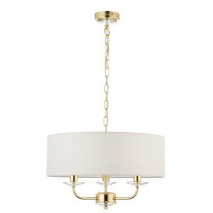 biała lampa wisząca ze złotą podstawą