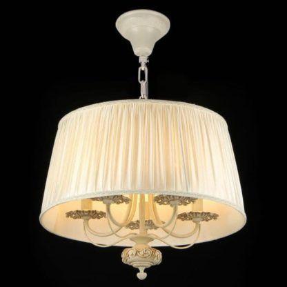 lampa wisząca z abażurem i kilkoma żarówkami